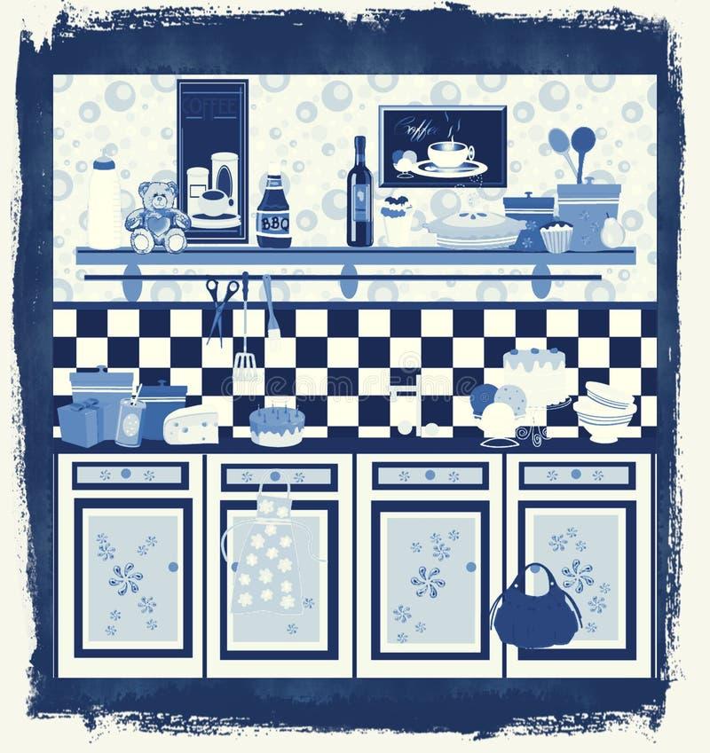 Projeto retro da cozinha do estilo de país ilustração do vetor
