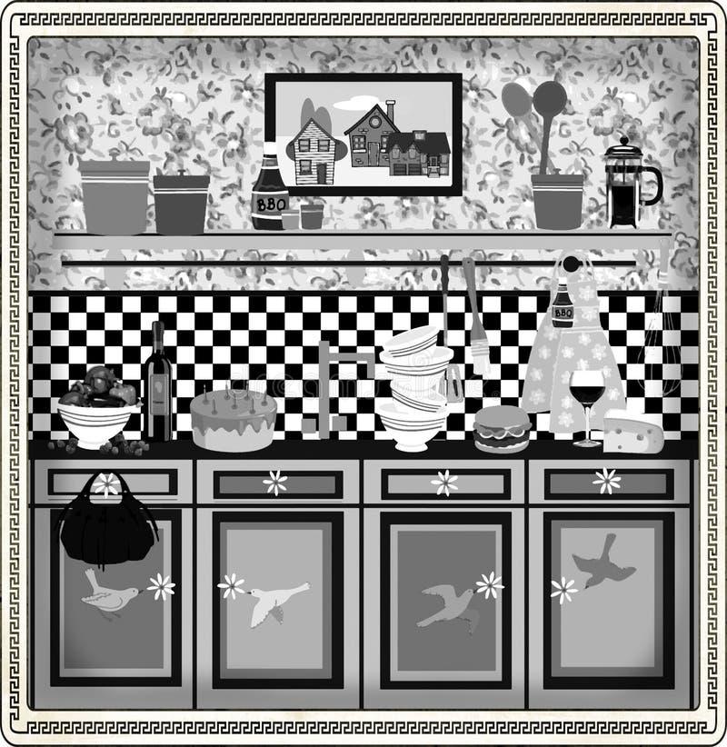 Projeto retro da cozinha do estilo de país ilustração royalty free