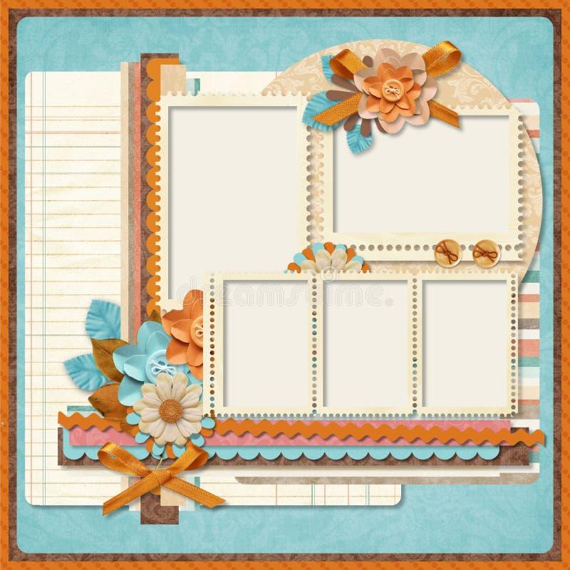 Projeto retro da família album.365. Moldes de Scrapbooking. ilustração royalty free