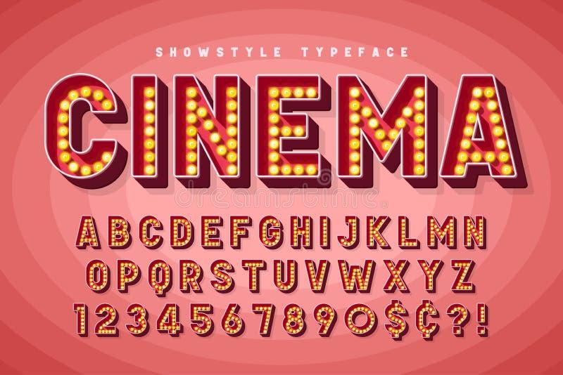 Projeto retro da fonte do cinema, taberna, letras de Broadway ilustração do vetor