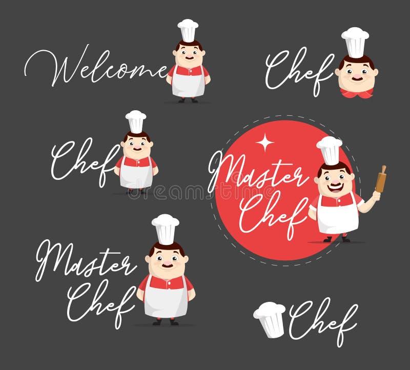 Projeto retro da ilustração do vetor dos logotipos do cozinheiro chefe ilustração royalty free