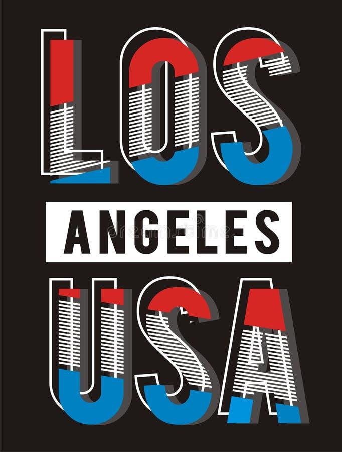 Projeto retro da tipografia de Los Angeles EUA, vetor ilustração stock