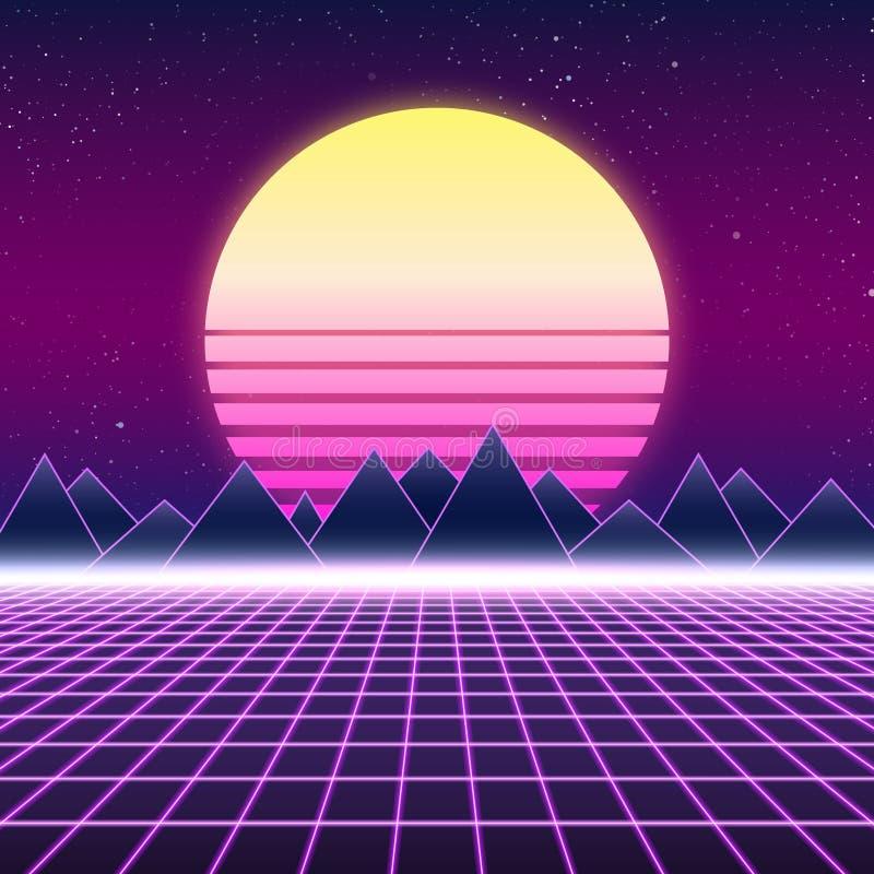Projeto retro de Synthwave, montanhas e sol, ilustração ilustração stock