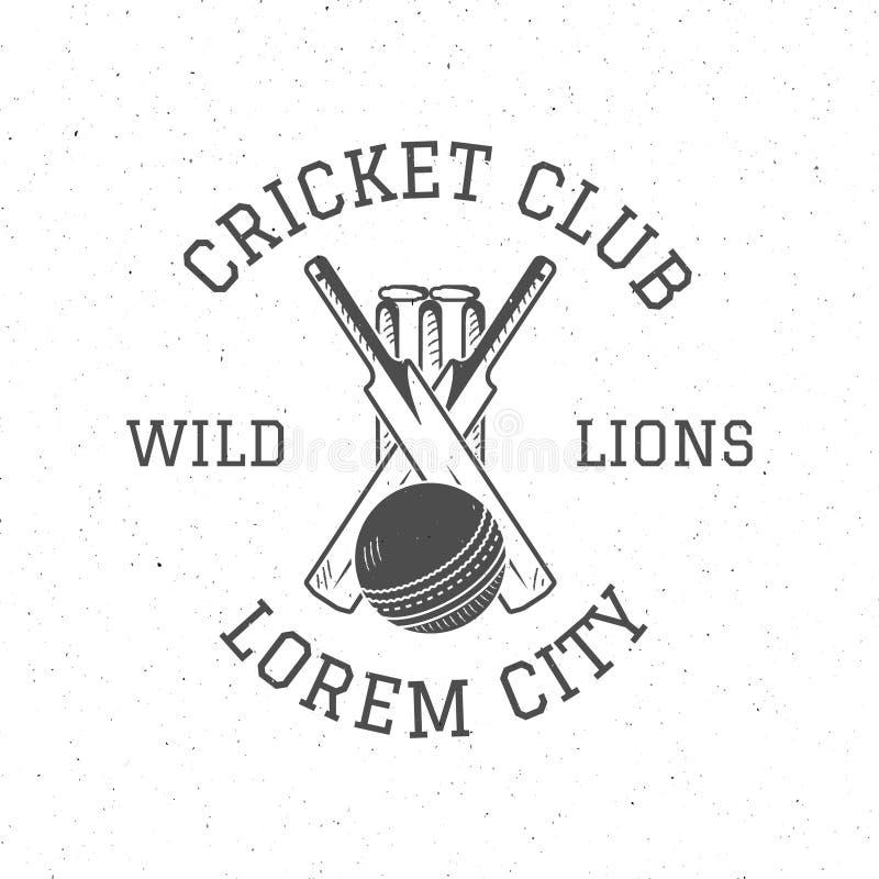 Projeto retro do ícone do logotipo do clube do grilo Emblema do vetor do grilo do vintage Crachá do grilo Projeto e símbolos do T ilustração stock