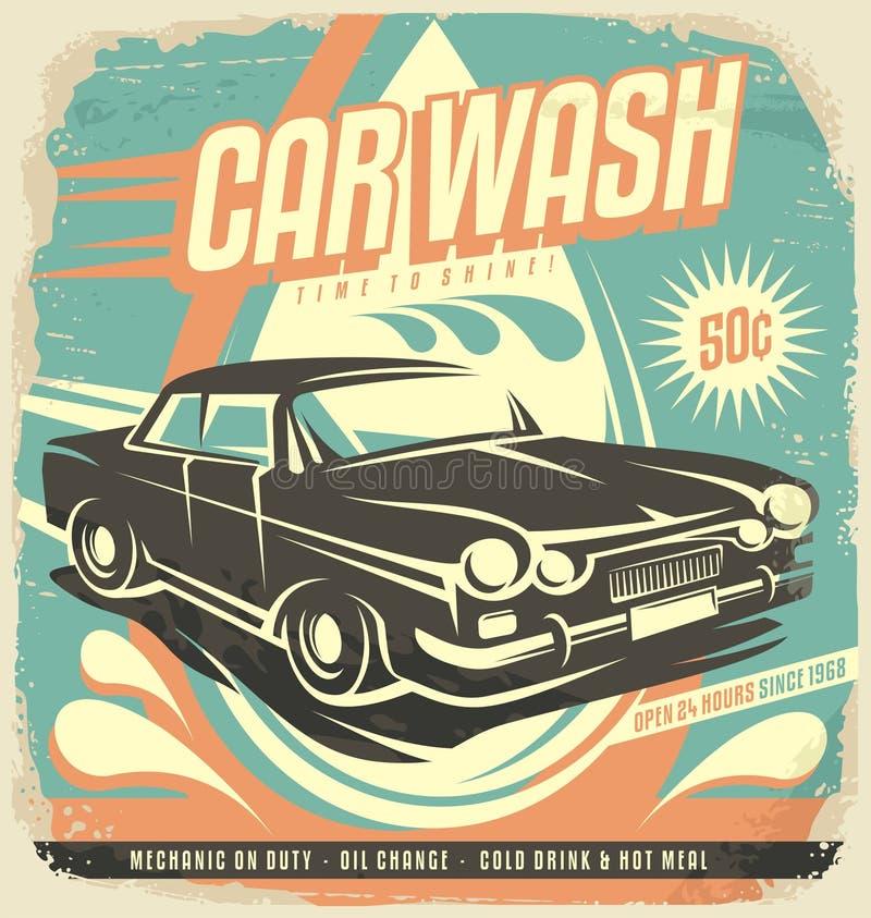 Projeto retro do cartaz da lavagem de carros ilustração royalty free