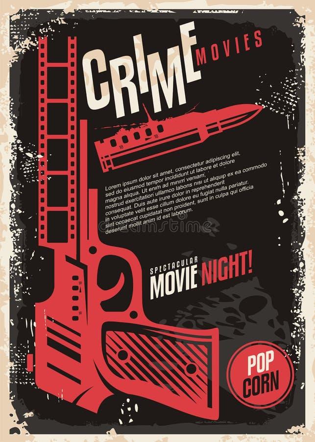 Projeto retro do cartaz da noite de cinema espetacular dos filmes do crime ilustração royalty free
