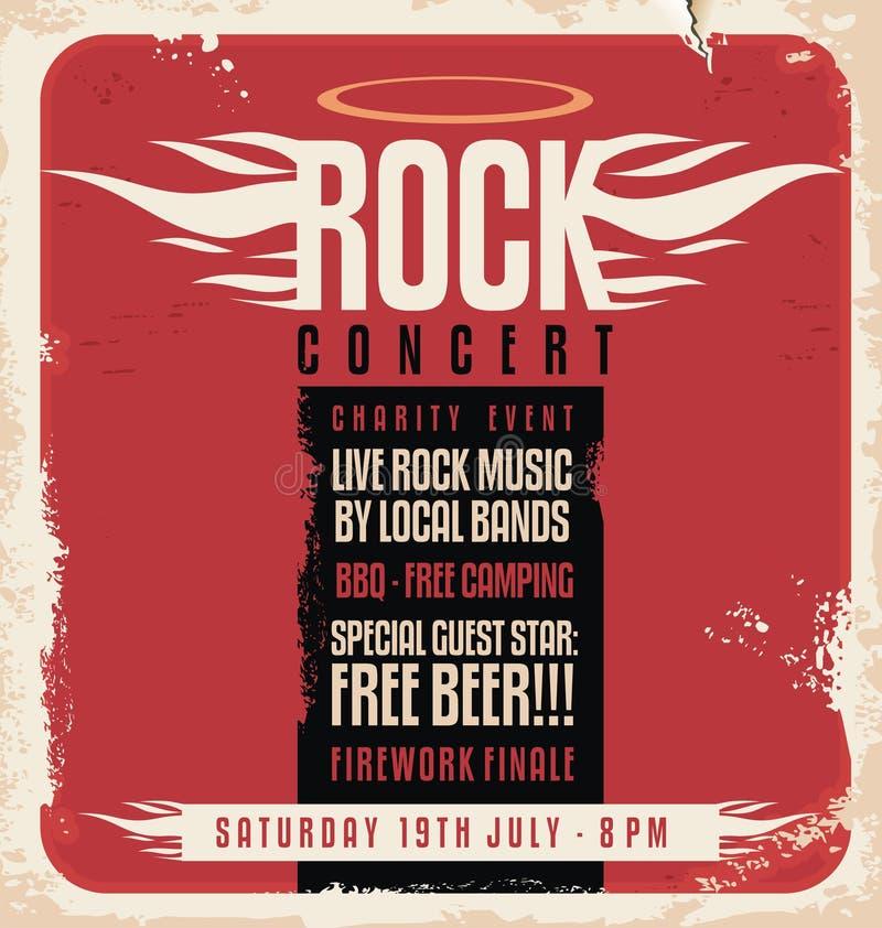 Projeto retro do cartaz do concerto de rocha ilustração royalty free