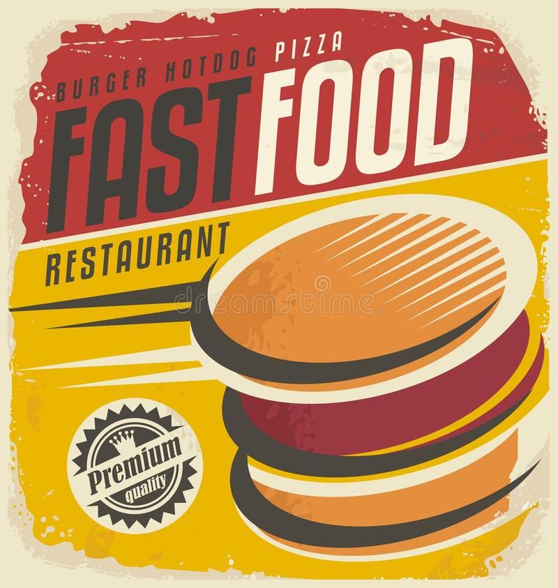 Projeto retro do cartaz do fast food ilustração royalty free