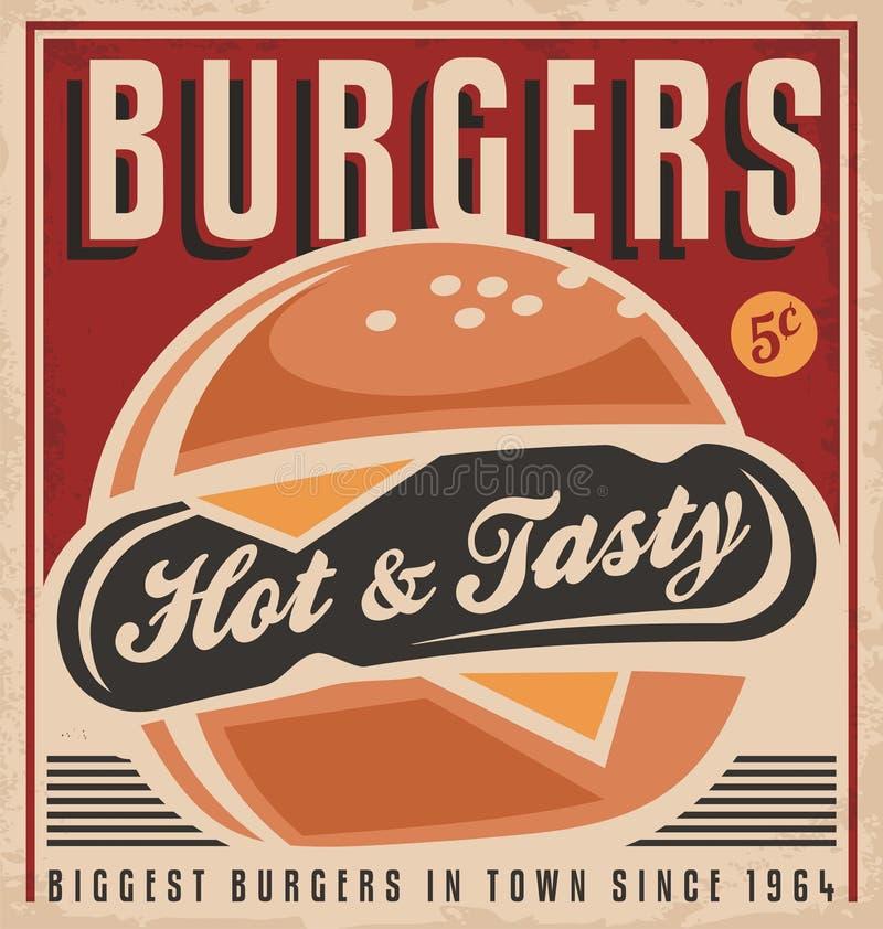Projeto retro do cartaz do hamburguer ilustração stock