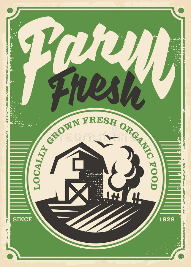 Projeto retro do cartaz dos produtos frescos da exploração agrícola ilustração do vetor