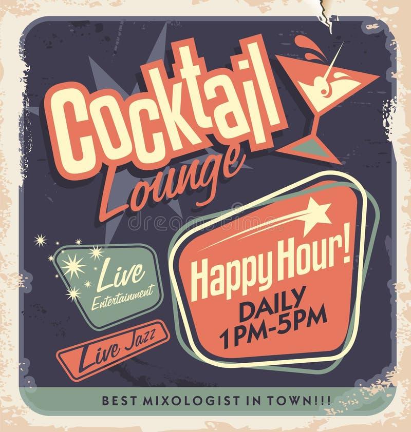 Projeto retro do cartaz para a sala de estar de cocktail ilustração do vetor