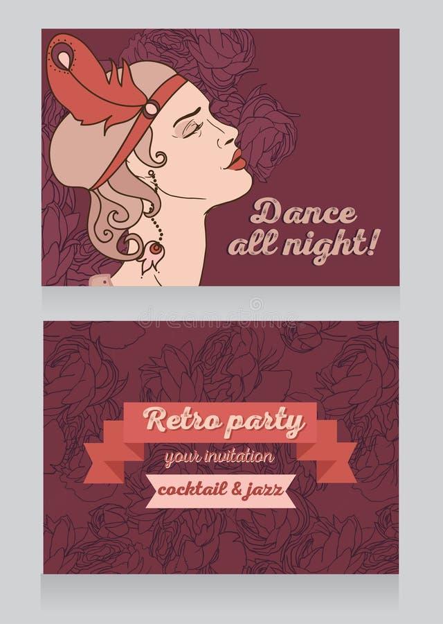 Projeto retro do convite do partido com texto da amostra e perfil bonito da mulher do flapper ilustração stock
