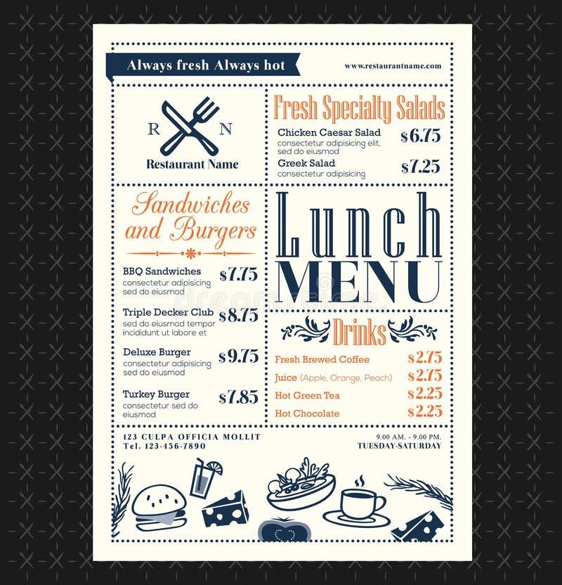 Projeto retro do menu do almoço do restaurante do quadro ilustração royalty free