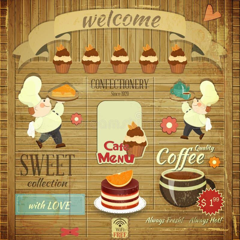 Projeto retro do menu dos confeitos do café ilustração stock