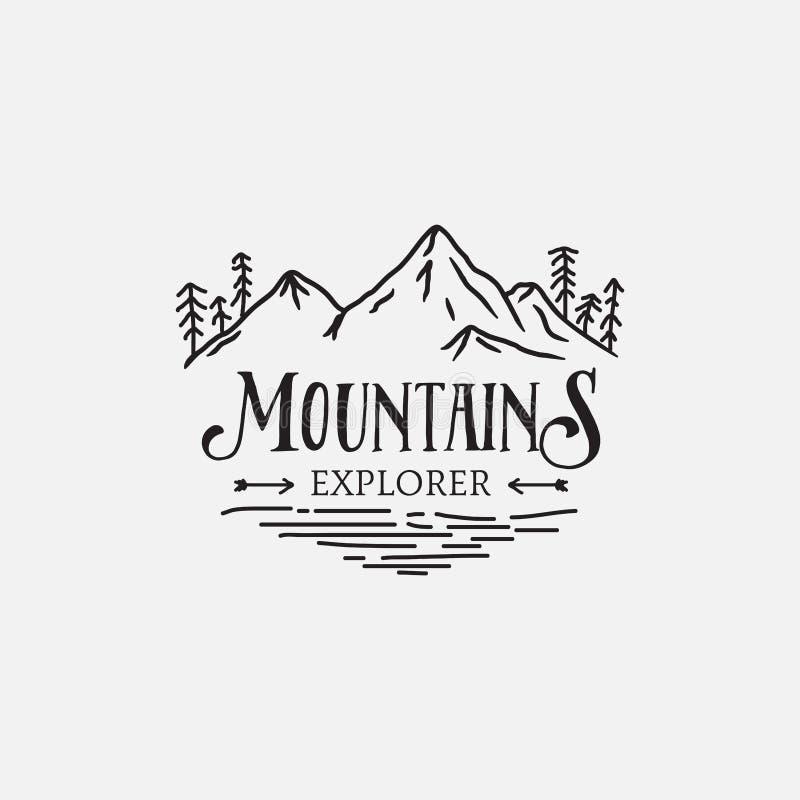 Projeto retro do moderno do logotipo dos pinheiros da montanha ilustração royalty free