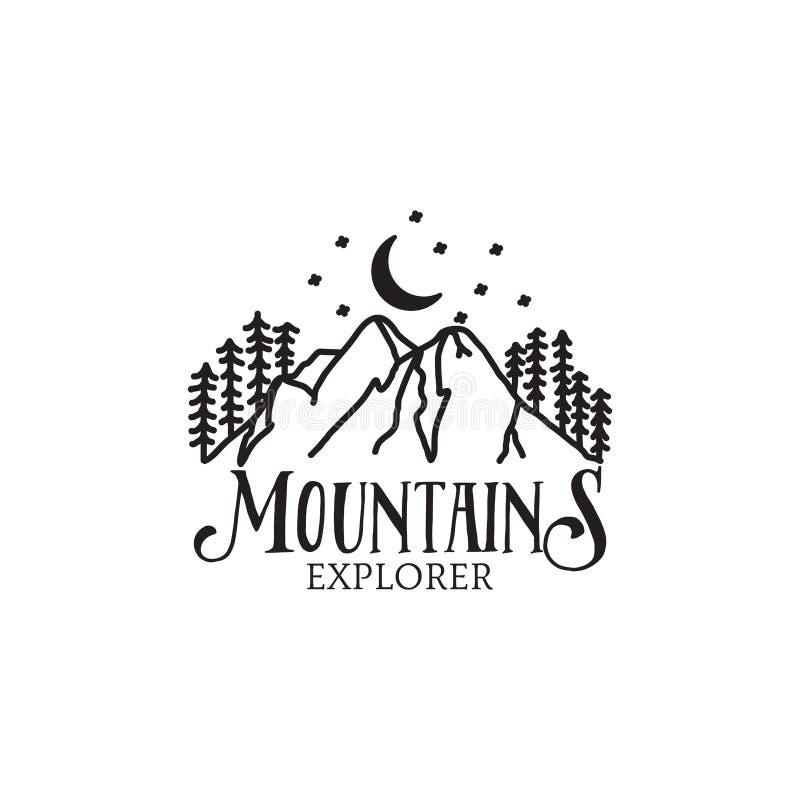 Projeto retro do moderno do logotipo do explorador da montanha da noite ilustração stock