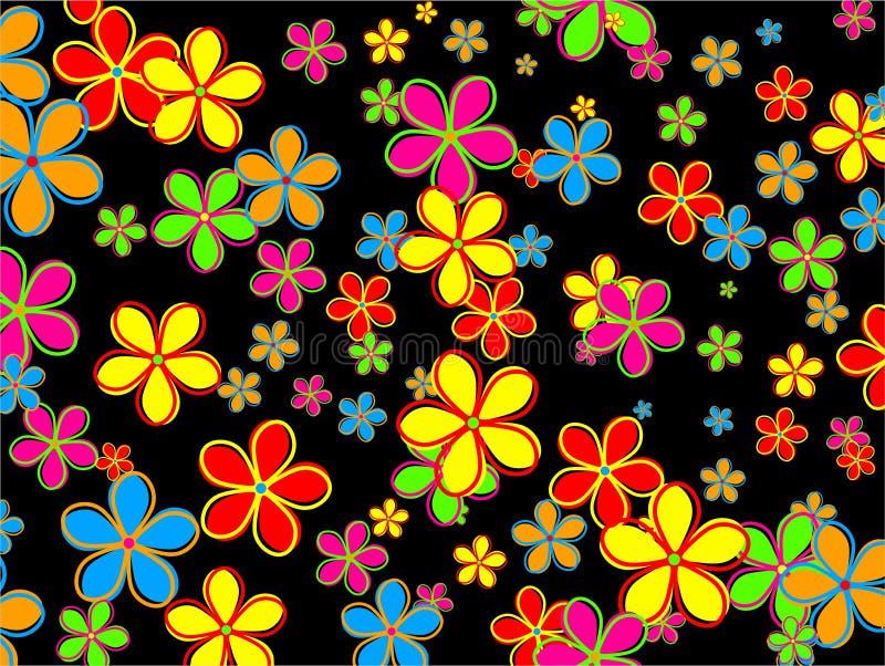 Projeto retro do papel de parede da flor ilustração royalty free