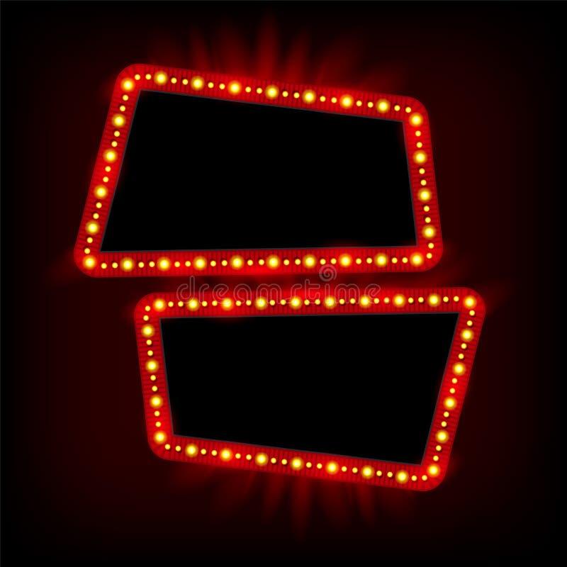 Projeto retro do quadro dos anos 50 de Showtime Lâmpadas de néon que anunciam o billbo ilustração do vetor