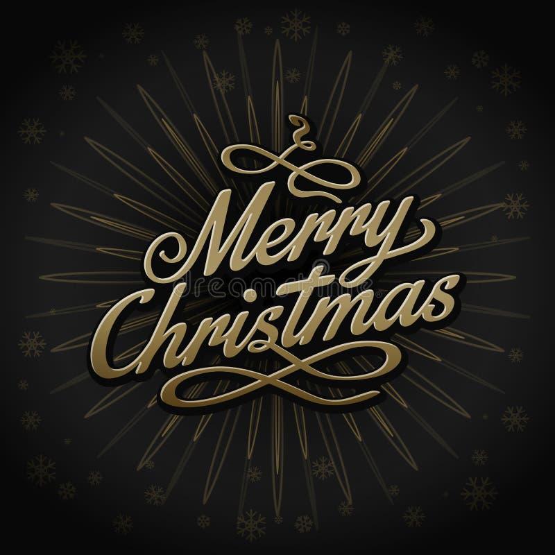 Projeto retro do sinal do Natal do ouro no fundo preto ilustração stock