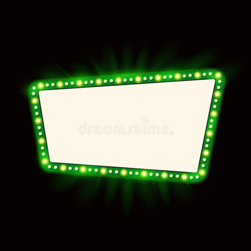 Projeto retro do sinal dos anos 50 de Showtime Quadro de avisos das lâmpadas de néon Quadro de ampolas do Signage do cinema e do  ilustração do vetor