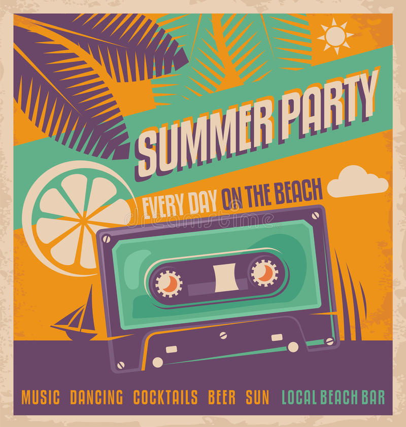 Projeto retro do vetor do cartaz do partido do verão ilustração royalty free