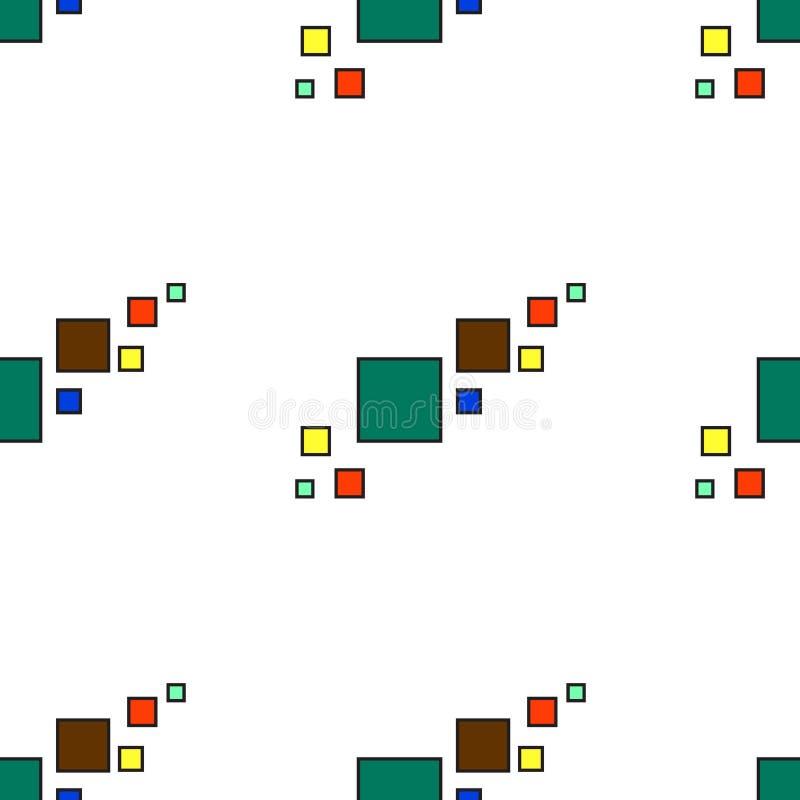 Projeto retro do vintage colorido geométrico sem emenda do fundo do vetor do teste padrão com Br amarelo vermelho verde de turque ilustração do vetor