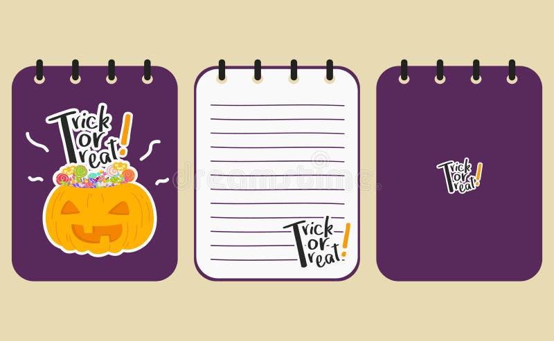 Projeto roxo imprimível do vetor do caderno de Dia das Bruxas ilustração stock