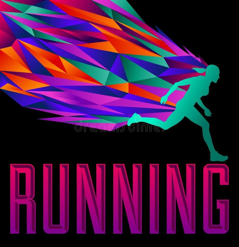 Projeto running - corredor fêmea da silhueta ilustração royalty free
