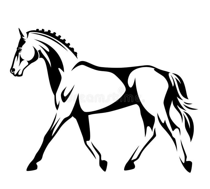 Projeto running do vetor do preto do cavalo ilustração royalty free