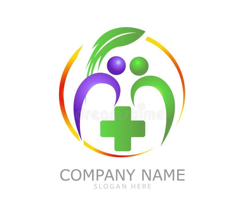 Projeto saudável do logotipo do bem-estar dos povos do fitoterapia da natureza, vetor Farmacêutico, fisioterapia ilustração stock