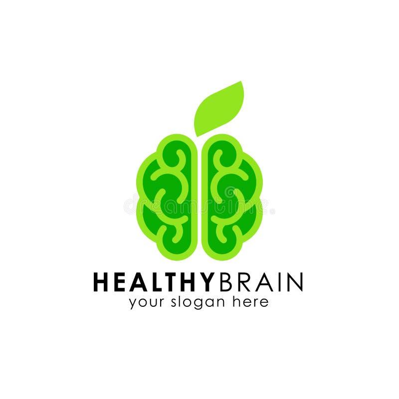 Projeto saudável do logotipo do cérebro ícone verde do vetor do cérebro ilustração stock