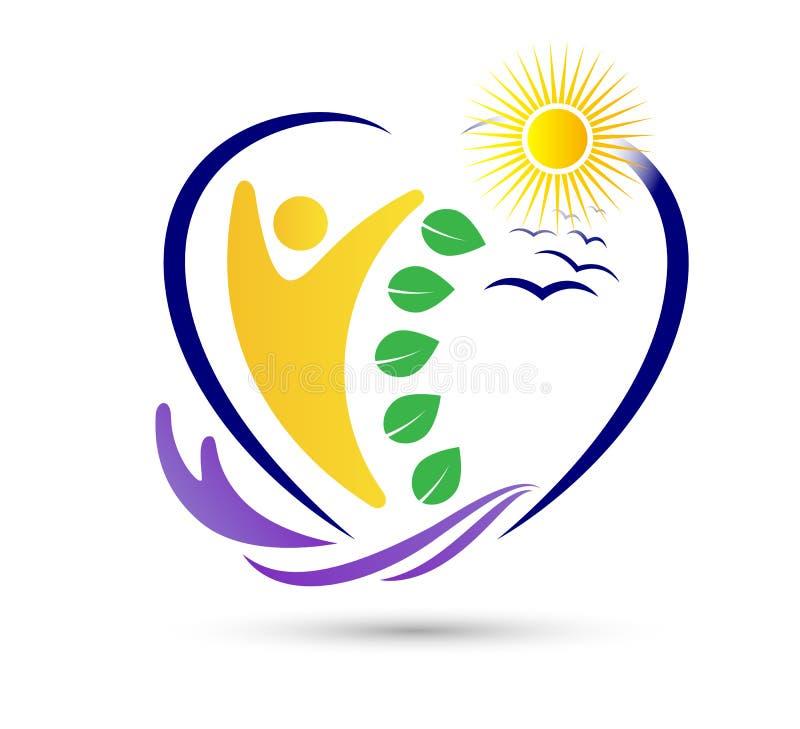 Projeto saudável do logotipo da folha dos povos da agricultura das economias do cuidado da natureza Atlético, equilíbrio logotipo ilustração royalty free