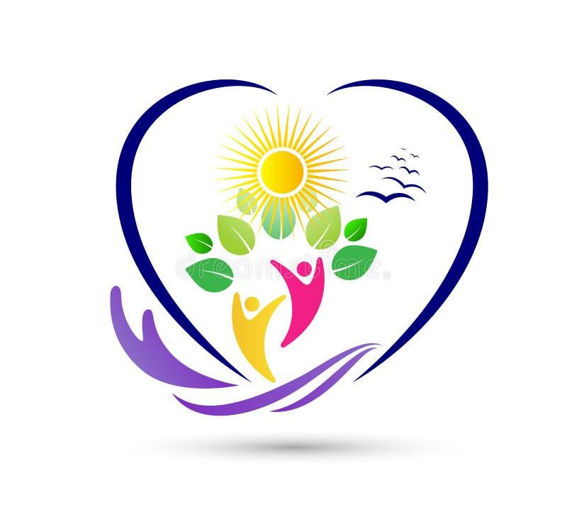 Projeto saudável do logotipo da folha dos povos da agricultura das economias do cuidado da natureza Atlético, equilíbrio logotipo ilustração do vetor