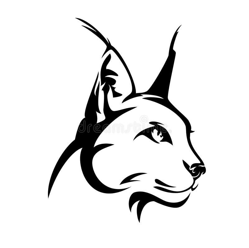 Projeto selvagem do vetor do preto da cabeça do gato de Caracal ilustração stock
