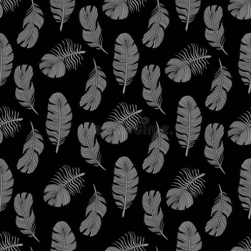 Projeto sem emenda à moda do teste padrão das penas de pássaro ilustração stock