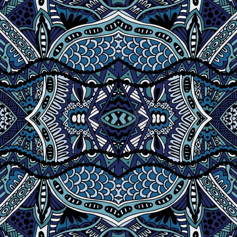 Projeto sem emenda étnico oriental azul do teste padrão ilustração royalty free