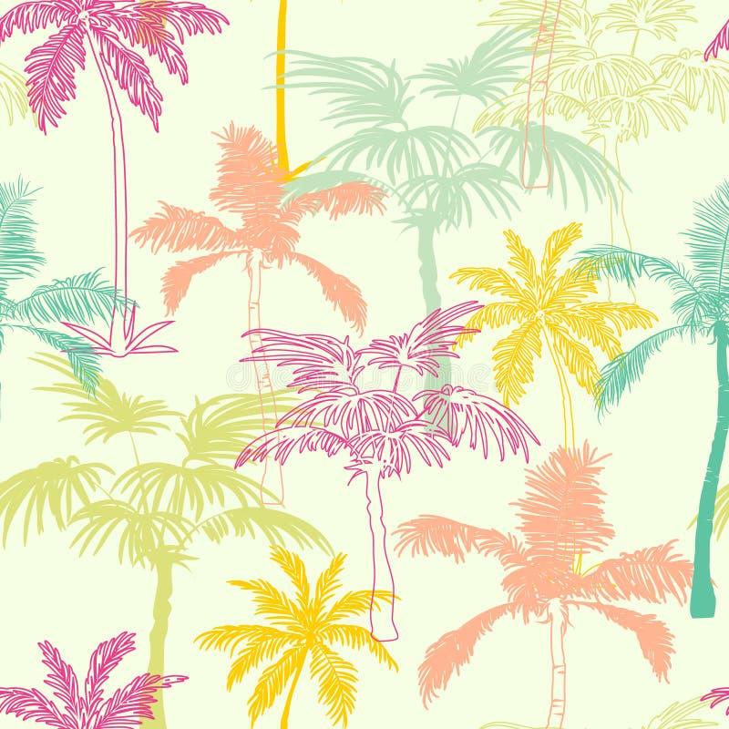 Projeto sem emenda amarelo verde cor-de-rosa da superfície do teste padrão de Califórnia das palmeiras do vetor com exótico, deco ilustração royalty free