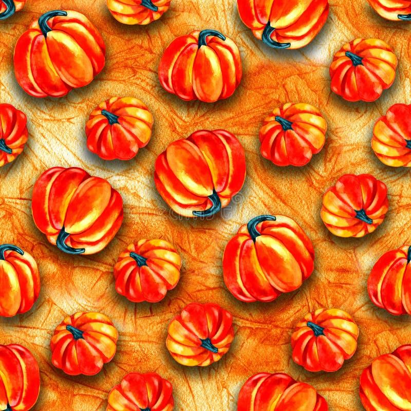 Projeto sem emenda artístico do teste padrão do Dia das Bruxas Grupo de abóbora tirada mão da aquarela isolada no fundo branco ilustração royalty free