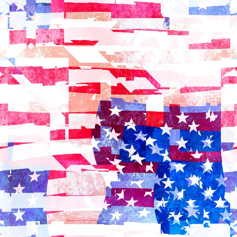 Projeto sem emenda da colagem da bandeira americana ilustração do vetor