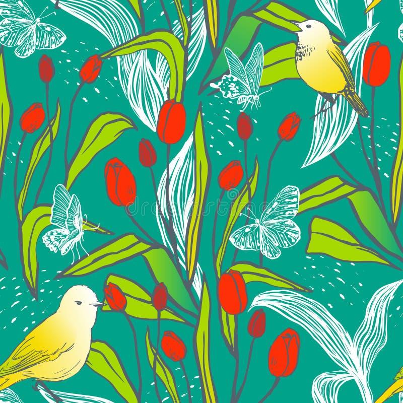 Projeto sem emenda da mola brilhante com tulipas, borboletas e pássaros ilustração stock
