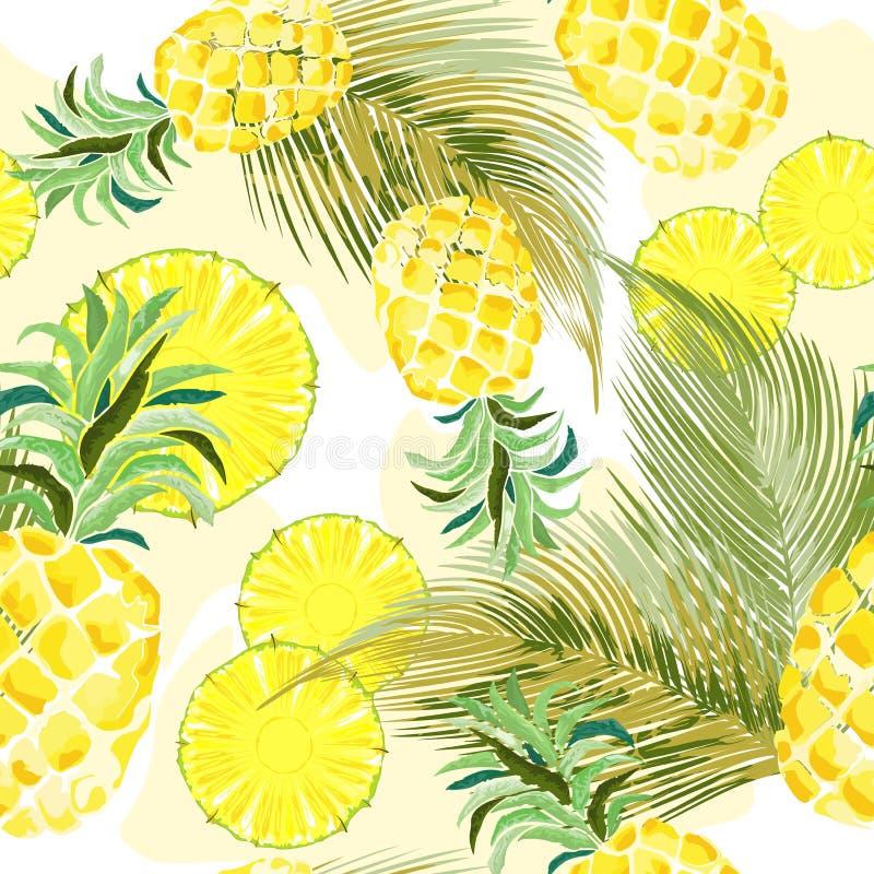Projeto sem emenda de matéria têxtil do teste padrão do vetor fresco da aquarela do abacaxi ilustração do vetor