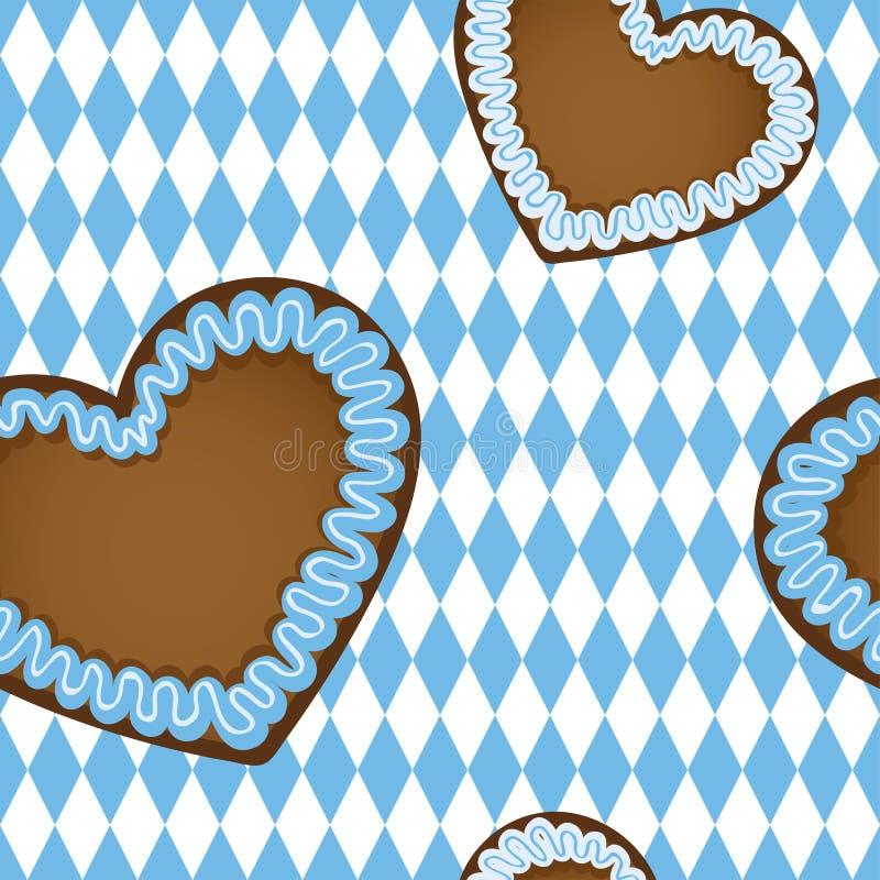 Projeto sem emenda do bavaria do coração do pão-de-espécie do teste padrão ilustração royalty free