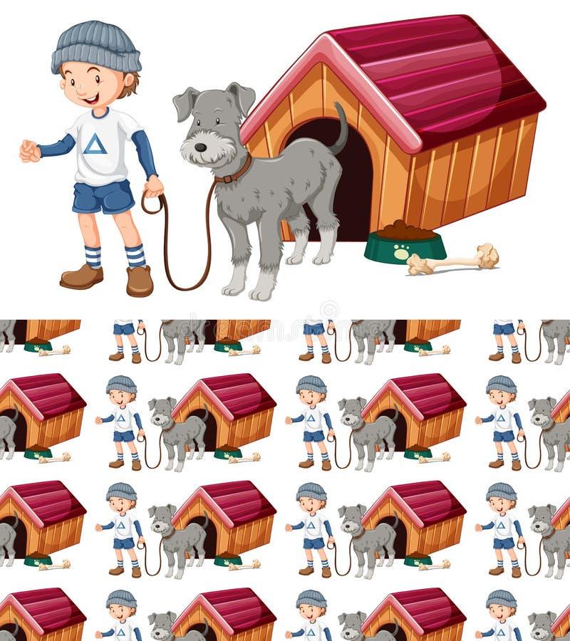 Projeto sem emenda do fundo com cão e menino ilustração stock