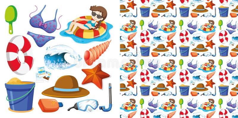 Projeto sem emenda do fundo com grupo isolado de férias de verão ilustração royalty free