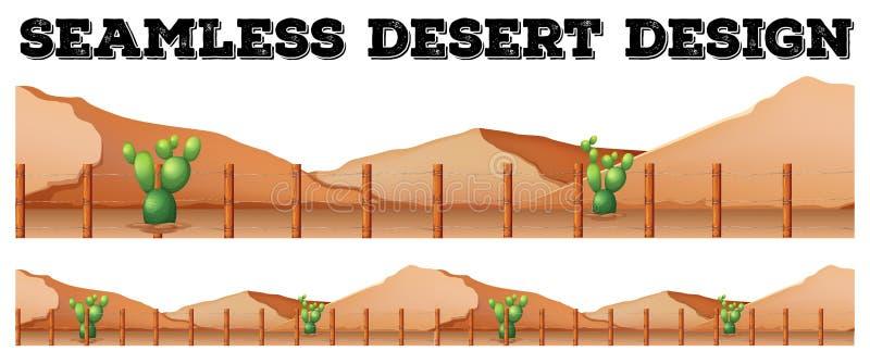 Projeto sem emenda do fundo com o cacto no deserto ilustração stock