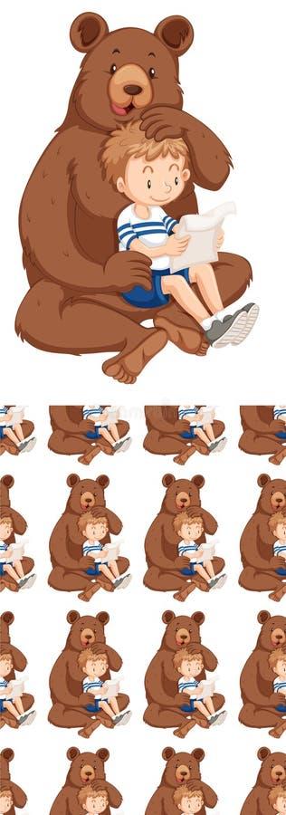 Projeto sem emenda do fundo com urso e menino ilustração royalty free