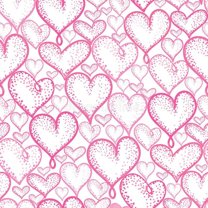 Projeto sem emenda do fundo do teste padrão da repetição dos corações cor-de-rosa do vetor Grande para cartões românticos de Vale ilustração royalty free