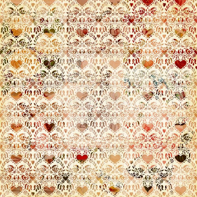 Projeto sem emenda do fundo do teste padrão do coração do vintage ilustração royalty free