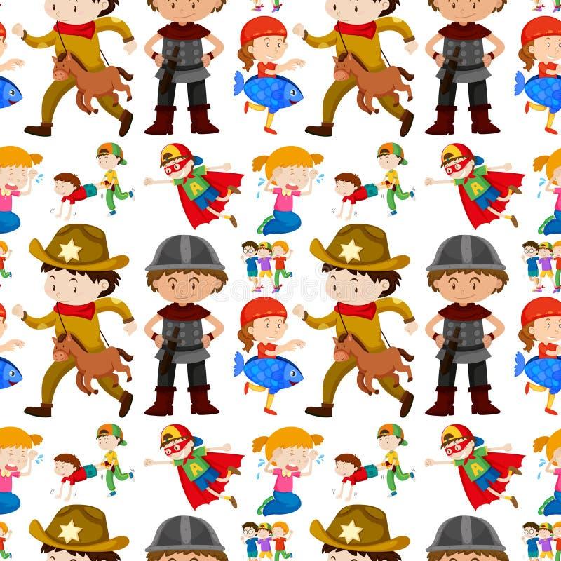 Projeto sem emenda do fundo para crianças em trajes diferentes ilustração royalty free