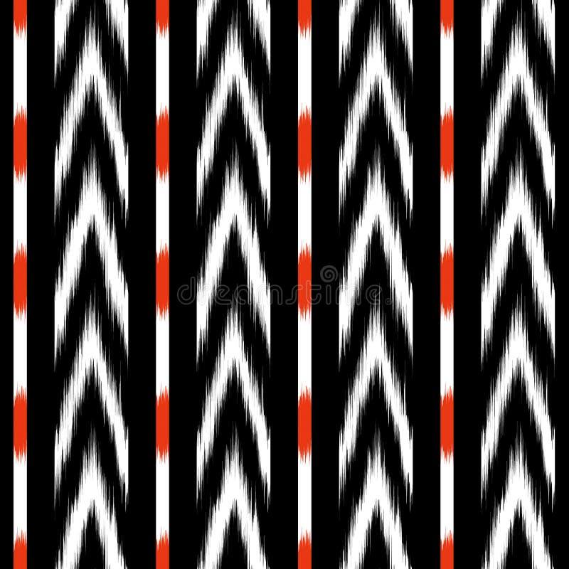 Projeto sem emenda do teste padrão do ikat preto e branco para a tela ilustração royalty free